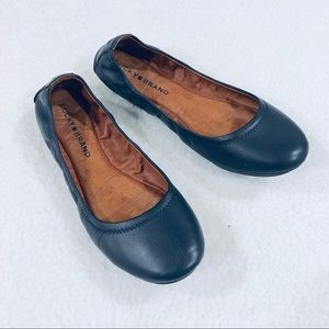 LUCKY BRAND Emmie 2 Navy Leather Ballet Flat Sz 8